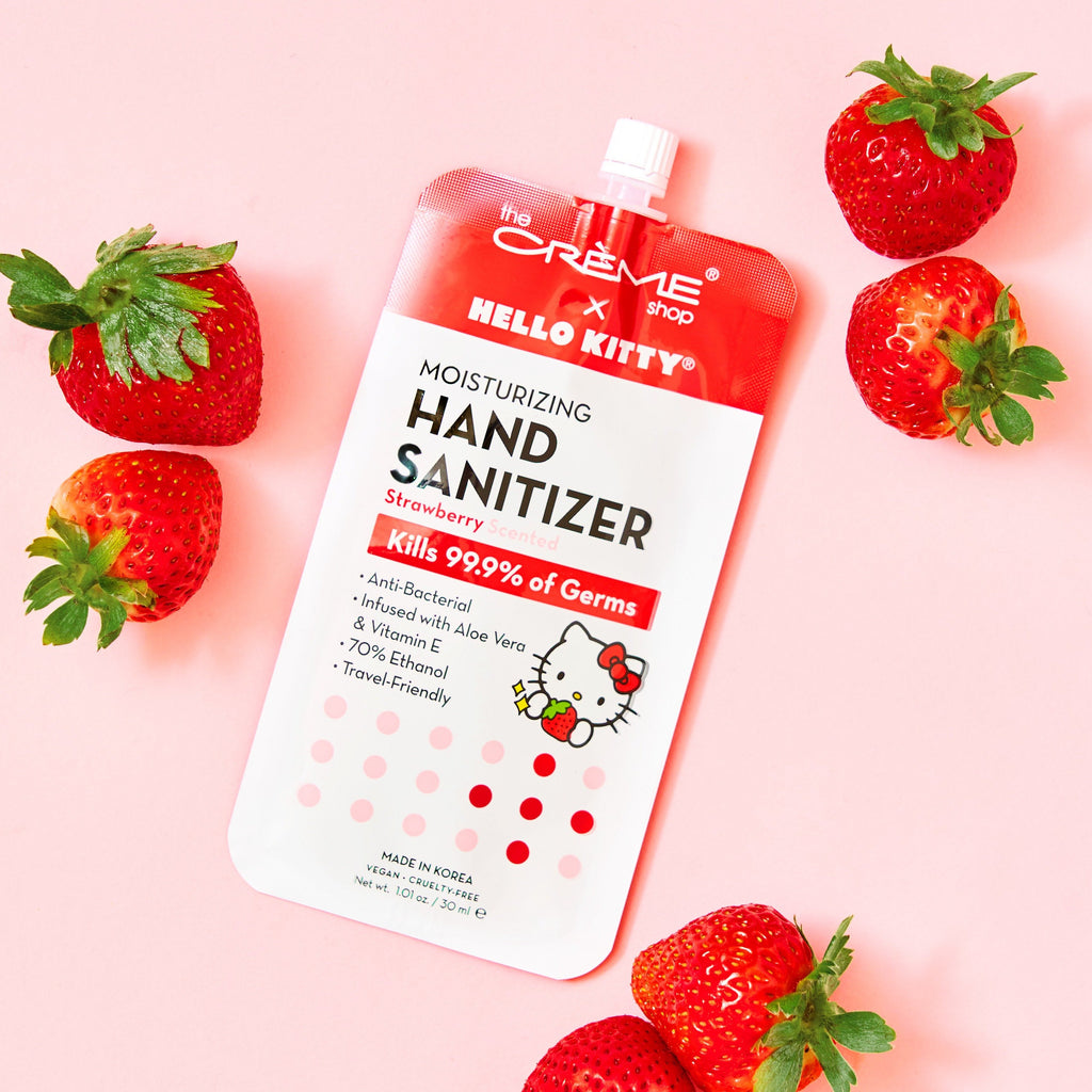 Hello Kitty Moisturizing Hand Sanitizer - Strawberry Scented Hand Sanitizer The Crème Shop x Sanrio Single
