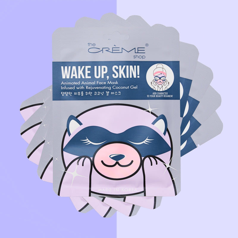 Wake Up, Skin! Animated Raccoon Face Mask - Rejuvenating Coconut Gel Animated Sheet Masks The Crème Shop