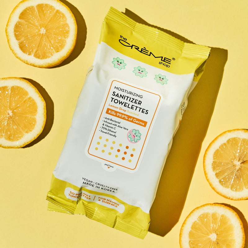 Moisturizing Sanitizer 50 Pre-Wet Towelettes - Lemon Drop Scented For Hands & Surfaces - The Crème Shop