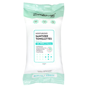 Moisturizing Sanitizer 50 Pre-Wet Towelettes - Green Tea Scented For Hands & Surfaces - The Crème Shop