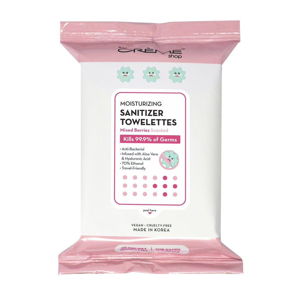 Moisturizing Sanitizer 20 Pre-Wet Towelettes - Mixed Berries Scented For Hands & Surfaces - The Crème Shop