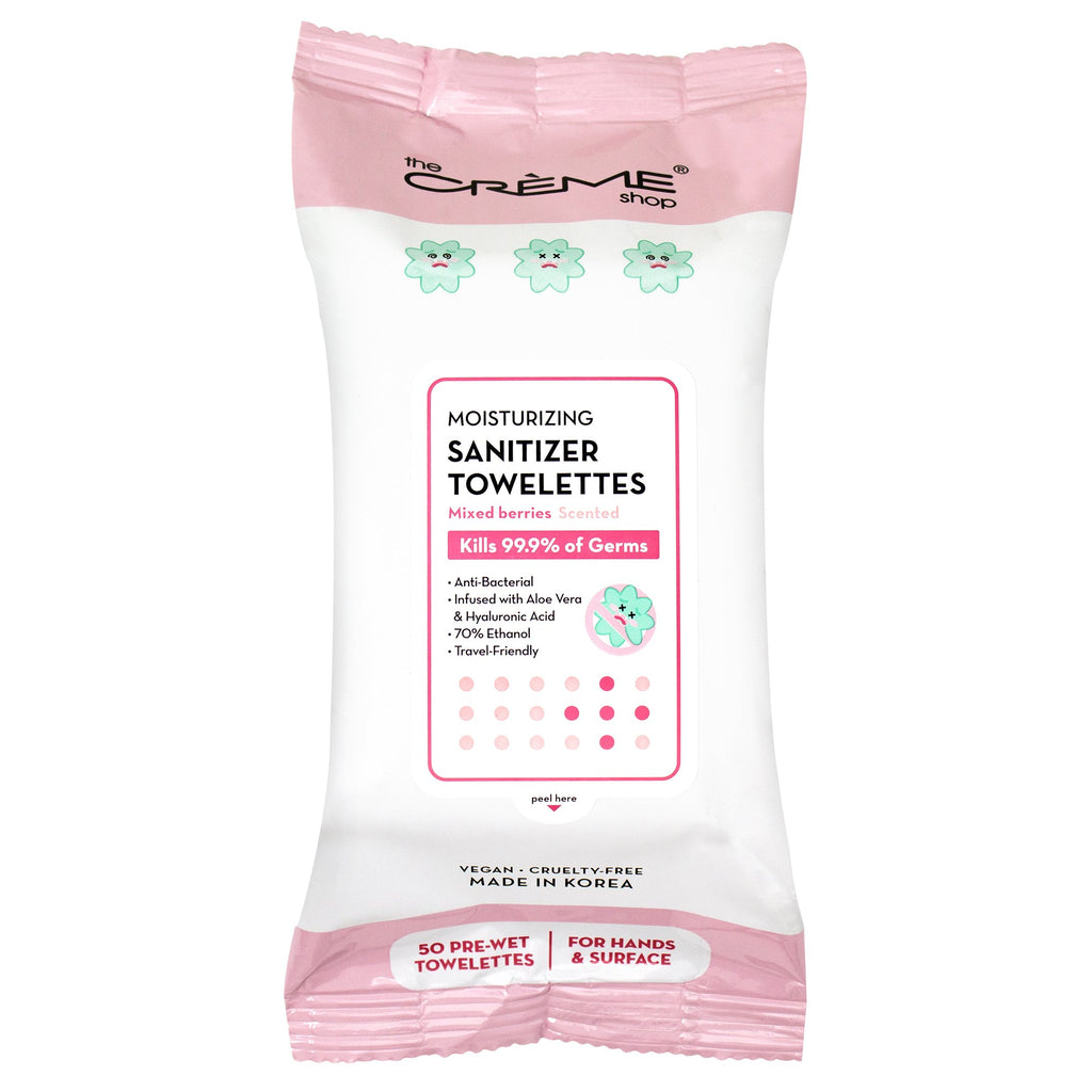 Moisturizing Sanitizer 50 Pre-Wet Towelettes - Mixed Berries Scented For Hands & Surfaces - The Crème Shop