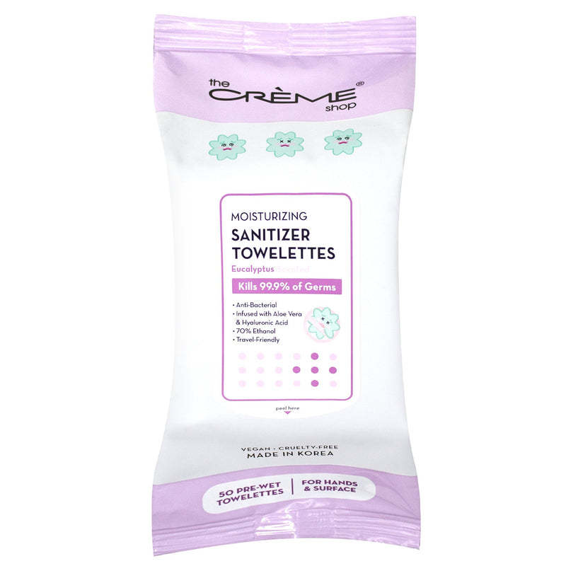 Moisturizing Sanitizer 50 Pre-Wet Towelettes - Eucalyptus Scented For Hands & Surfaces - The Crème Shop