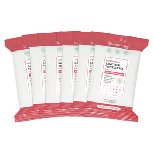 Moisturizing Sanitizer 20 Pre-Wet Towelettes - Rose Scented For Hands & Surfaces - The Crème Shop