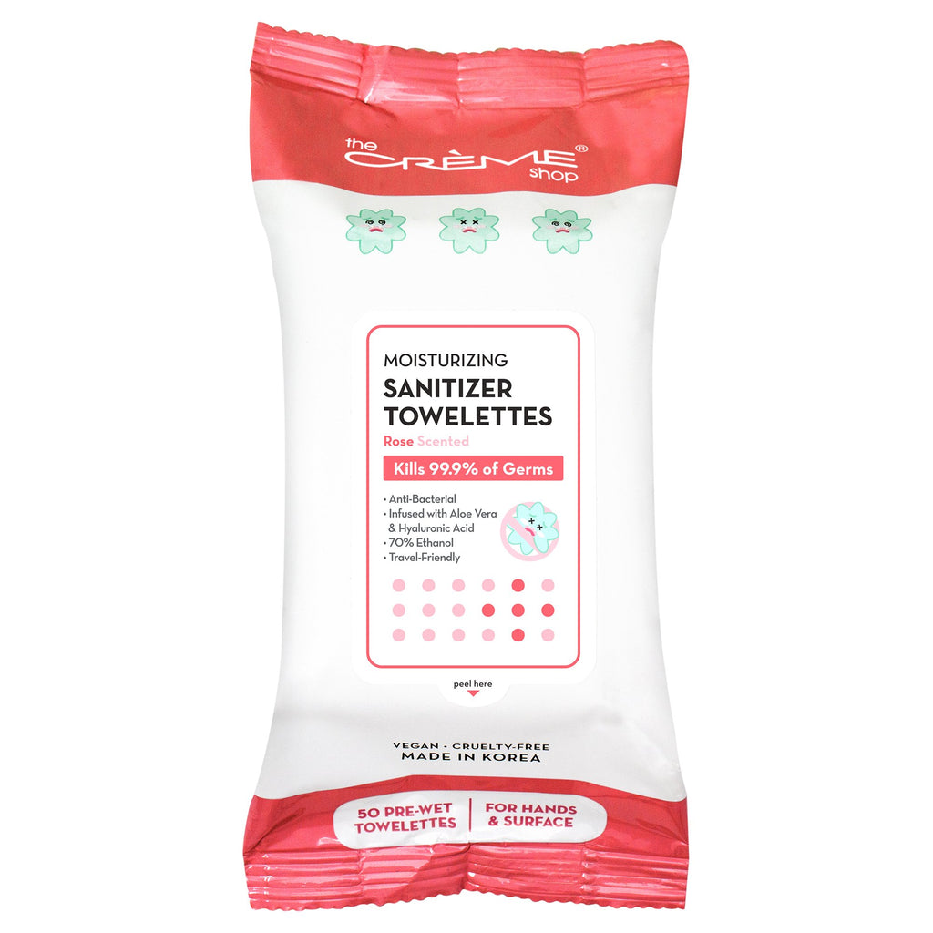 Moisturizing Sanitizer 50 Pre-Wet Towelettes - Rose Scented For Hands & Surfaces - The Crème Shop