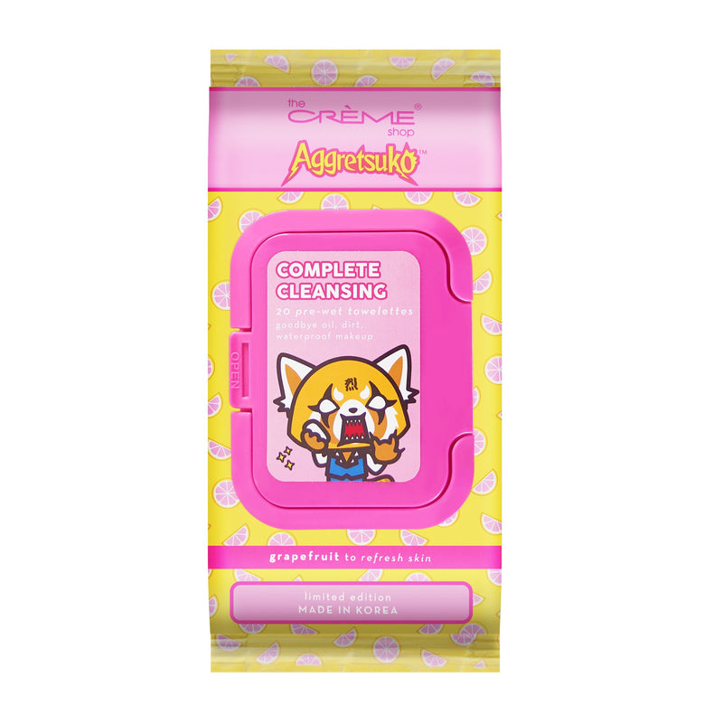 Aggretsuko Complete Cleansing 20 Pre-Wet Towelettes - Grapefruit - The Crème Shop