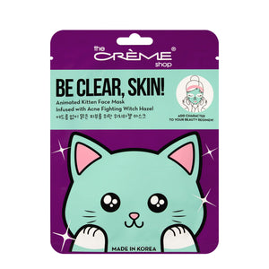 Be Clear, Skin! Animated Kitten Face Mask - Acne Fighting Witch Hazel - The Crème Shop