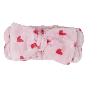 Classic Pink Teddy Headyband with Pink Hearts - The Crème Shop