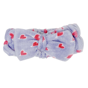 Lavender Purple Teddy Headyband with Pink Hearts - The Crème Shop
