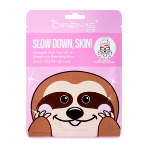 Slow Down, Skin! Animated Sloth Face Mask - Renewing Rose - The Crème Shop
