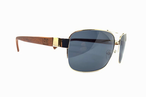 Image of aviator sunglasses wooden legs