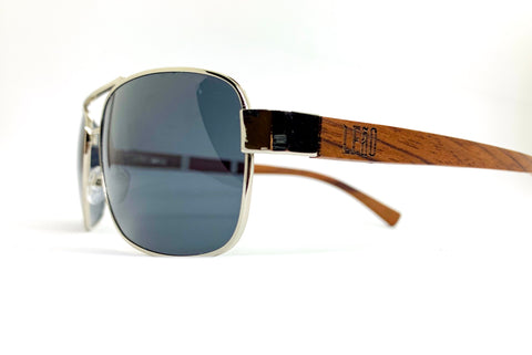 Aviator style glasses polarized ebony wood