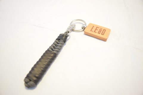 Image of LEaO OPTiCS Grey Ranked Paracord Key Fob with Bamboo LEaO Engraved Key Chain with Ring
