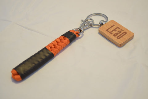LEaO OPTiCS Orange Ranked Paracord Key Fob with Bamboo LEaO Engraved Key Chain with Ring