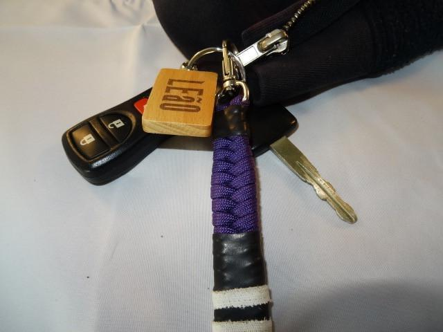 LEaO OPTiCS Ranked Paracord Key Fob with Bamboo LEaO Engraved Key Chain with Ring