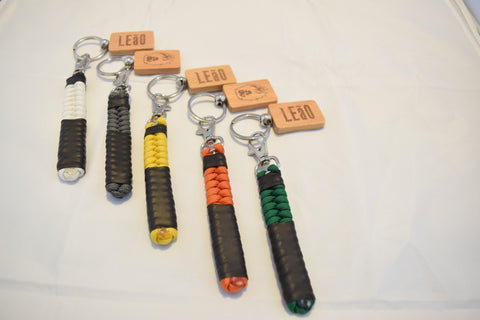 Image of LEaO OPTiCS Ranked Paracord Key Fob with Bamboo LEaO Engraved Key Chain with Ring