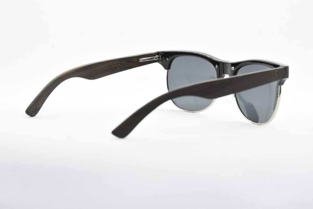 Browline metal and wooden sunglasses