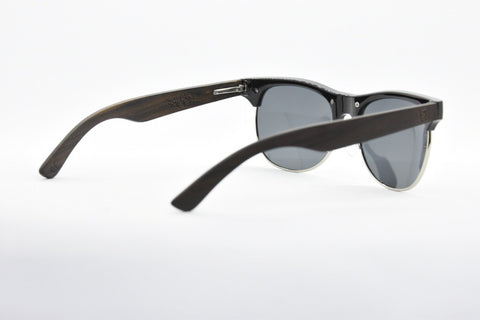 Image of Browline metal and wooden sunglasses