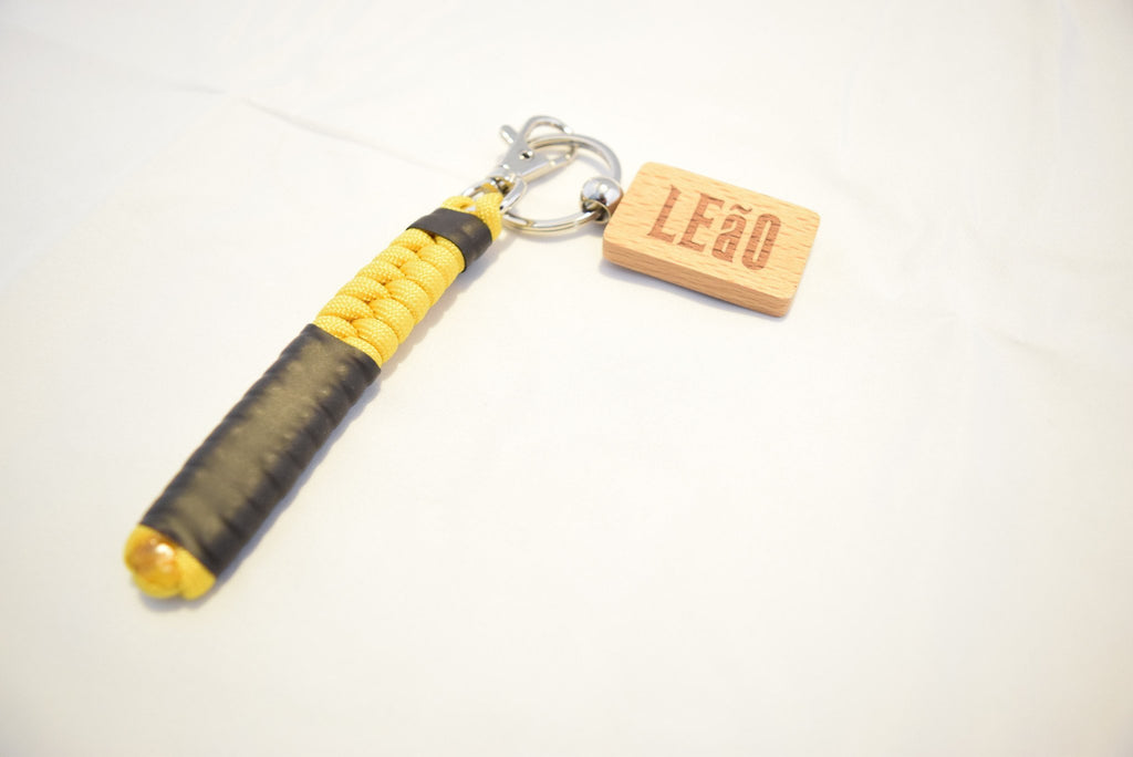 LEaO OPTiCS Yellow Ranked Paracord Key Fob with Bamboo LEaO Engraved Key Chain with Ring