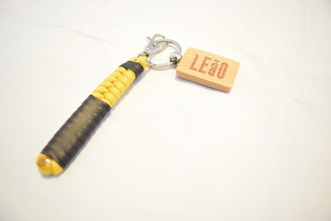 Image of LEaO OPTiCS Yellow Ranked Paracord Key Fob with Bamboo LEaO Engraved Key Chain with Ring