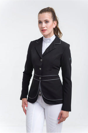 Riding Show Jacket VENICE BLACK - DOUBLE FRONT PANEL TECHNOLOGY Softshell, Technical Equestrian Show Apparel