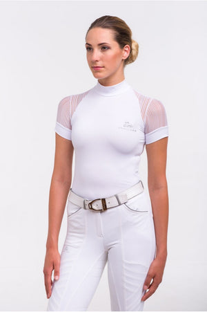 Riding Show Shirt WHITE CONTESSA - Short Sleeve. Technical Equestrian Apparel - Leveza