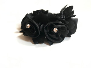 Black flower Elastic hair bands - Leveza