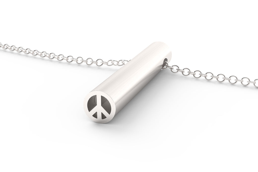 A sterling silver Peace Sign pendant necklace