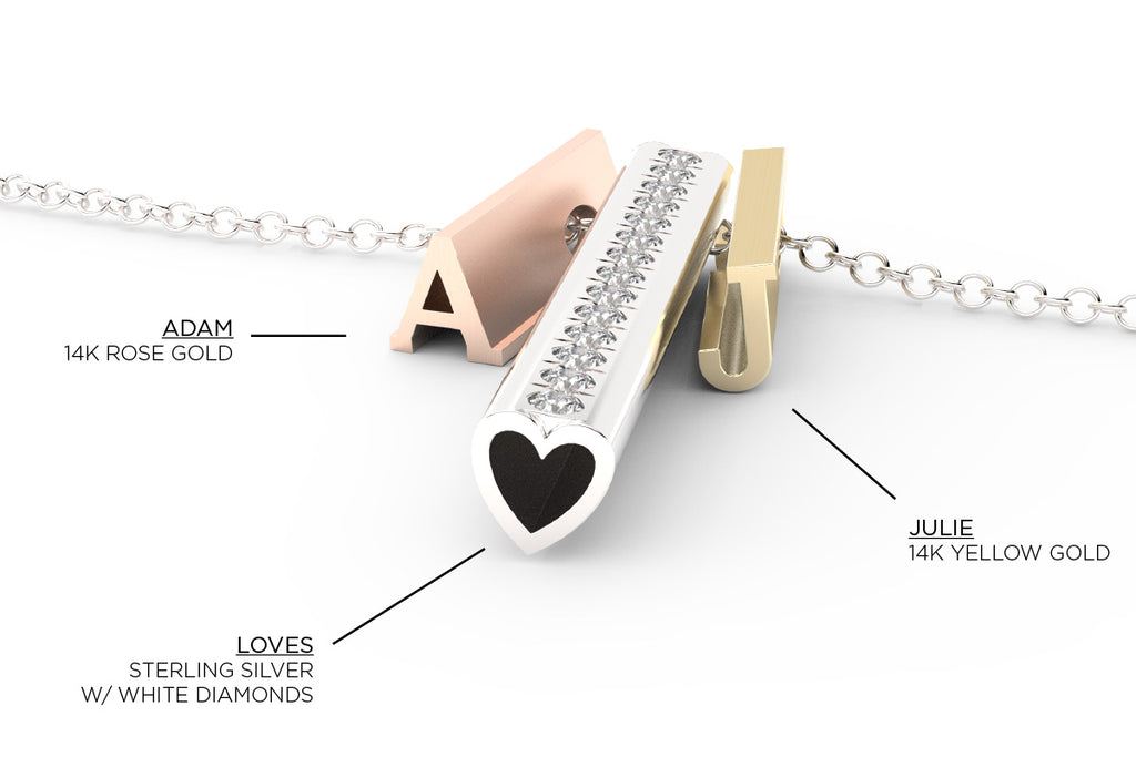 Tell your story  - this is Adam Loves Julie - A, heart, J - 14k rose, sterling, 14k yellow pendants on a silver chain
