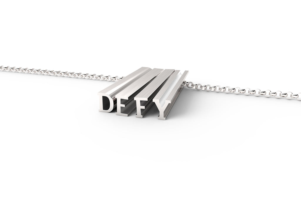 Sterling silver necklace that says 'DEFY'