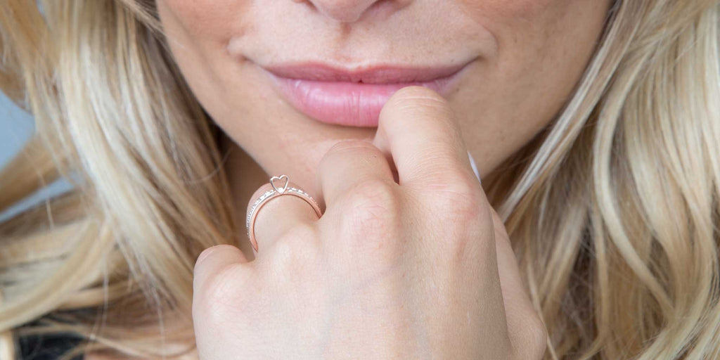 Beauty in simplicity. a rose gold stacker set - diamond eternity band and heart slice ring.