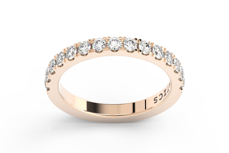 ROSE GOLD BIRTHSTONE HALF PAVE STACKING BAND
