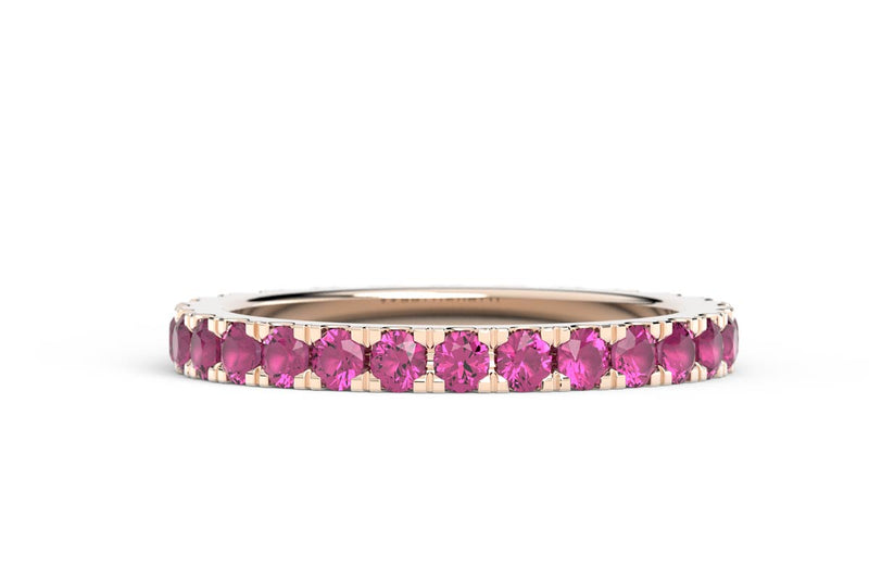 ROSE GOLD BIRTHSTONE ETERNITY PAVE STACKING BAND