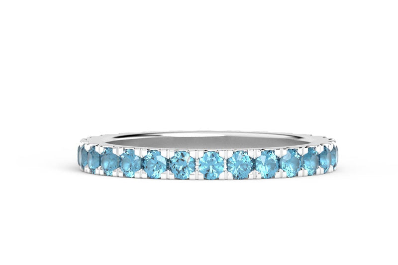 WHITE GOLD BIRTHSTONE HALF PAVE STACKING RING