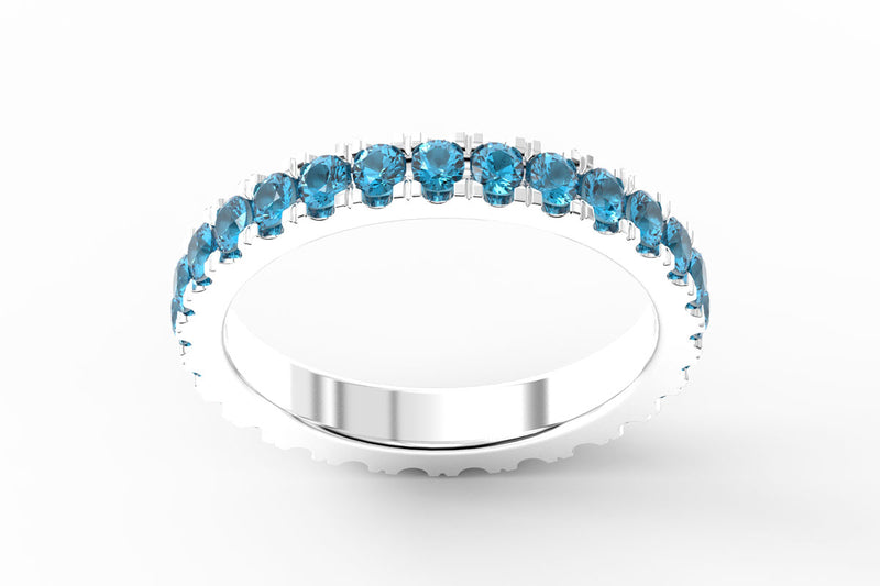 WHITE GOLD BIRTHSTONE ETERNITY PAVE STACKING RING