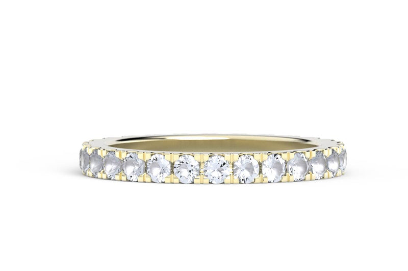YELLOW GOLD BIRTHSTONE ETERNITY PAVE STACKING RING