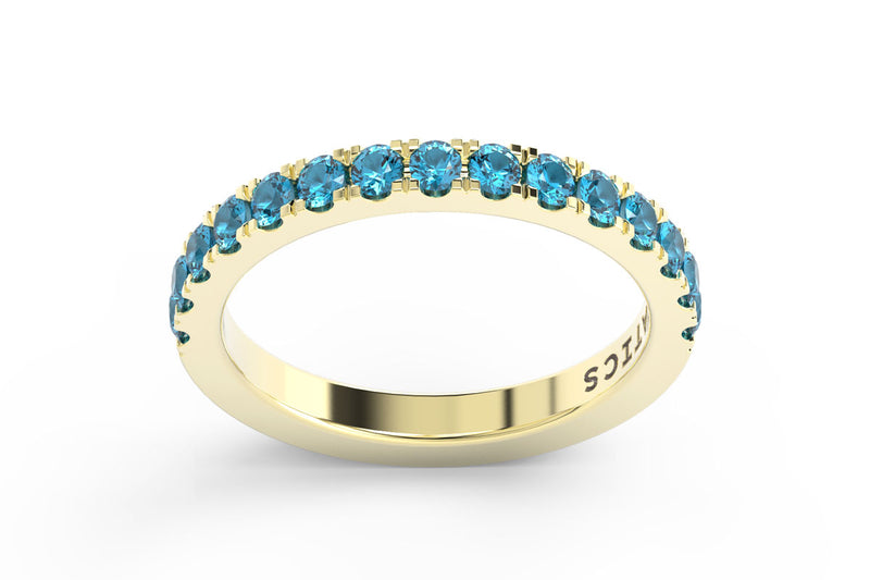 YELLOW GOLD BIRTHSTONE HALF PAVE STACKING RING