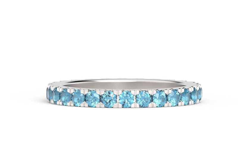 SILVER BIRTHSTONE ETERNITY PAVE STACKING RING
