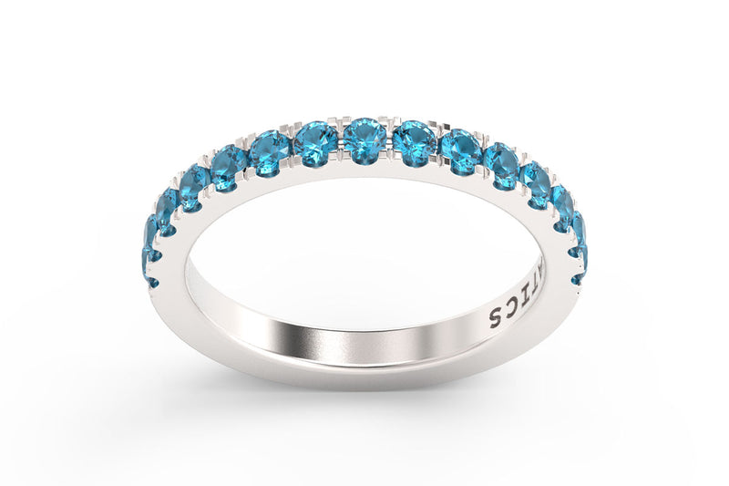 SILVER BIRTHSTONE HALF PAVE STACKING RING