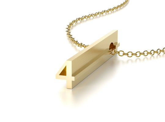 NUMBER 4 NECKLACE-14k YELLOW GOLD VERMEIL-outlet