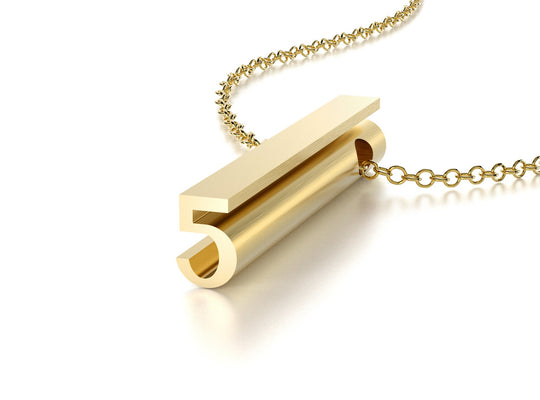 NUMBER 5 NECKLACE-14k YELLOW GOLD VERMEIL-outlet