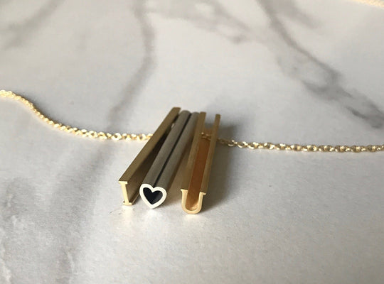 I heart U NECKLACE-SILVER-14k YELLOW GOLD VERMEIL-outlet