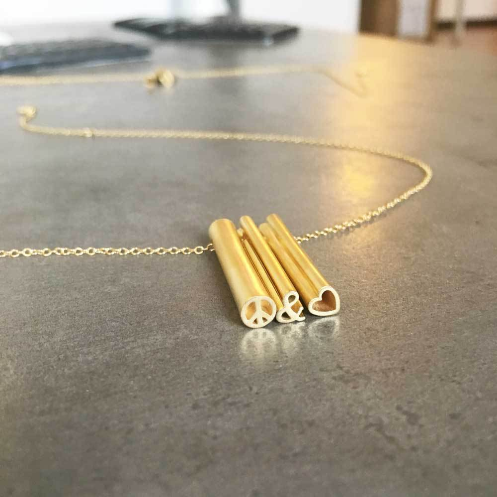 peace & love NECKLACE-14k YELLOW GOLD VERMEIL-outlet