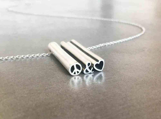 Sample sale sterling silver peace and love necklace