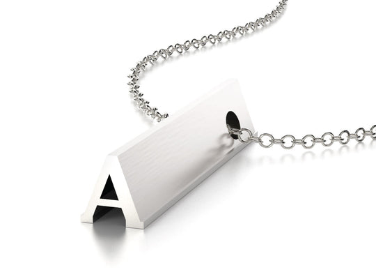LETTER A NECKLACE-STERLING SILVER-outlet