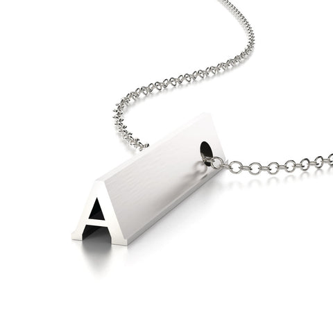 Hidden Message Necklace Letter A Sterling Silver Charm Pendant