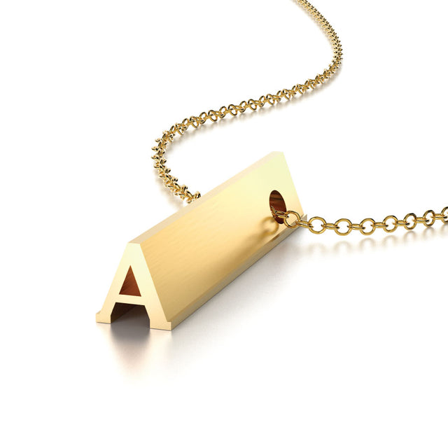 LETTER A NECKLACE-14k YELLOW GOLD VERMEIL-outlet