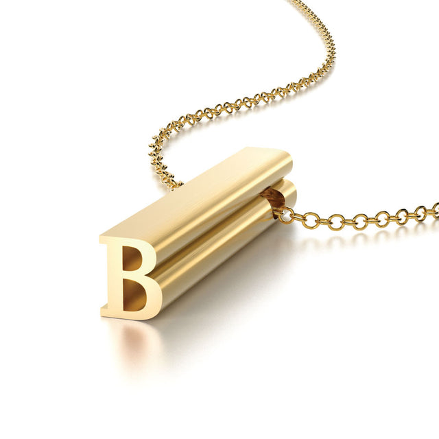 LETTER B NECKLACE-14k YELLOW GOLD VERMEIL-outlet