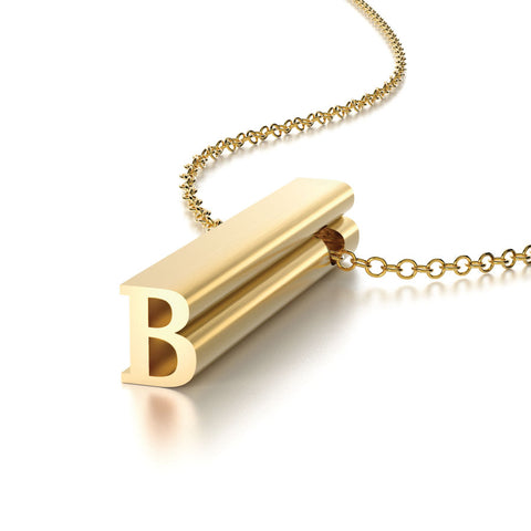 Gold Vermeil Hidden Message Letter B Charm Pendant Necklace