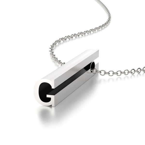 LETTER G NECKLACE-STERLING SILVER-outlet